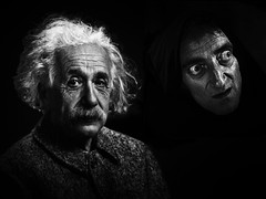 When They Steal Your Identity, Just Choose Another One! (Alfred Grupstra) Tags: feldman einstein blackandwhite people humanface portrait senioradult spooky horror fineartportrait halloween conceptsandideas oneperson men evil males facialexpression characters religion women lookingatcamera dark