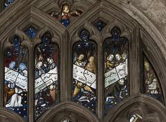 Warwick, Beauchamp chapel window detail (Jules & Jenny) Tags: warwick stmaryschurch stainedglasswindow 15thcentury angelmusicians music
