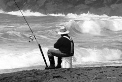 the fisherman b&w (albyn.davis) Tags: fisherman people ocean water waves beach light oregon bandon coast pacific usa