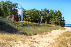 Lighthouse At Forty Mile Point (Robert F. Carter Travels) Tags: autumncolor beach beaches fall fallcolor greatlake greatlakes lighthouses lakehuron lighthouse october sand windmill windmills autumn
