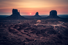 Sunrise, Monument Valley (Jez Campbell) Tags: arid arizona cloud clouds cloudscape countryside desert dry eastmitten landscape mittens monumentvalley mountain nature orange park peaks rock sand scene sky sun sunrise sunset usa utah valley view westmitten america beautiful butte monument navajo outdoor red sandstone scenic stone tourism travel west