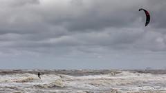 Kite surfer (BraCom (Bram)) Tags: 169 bracom bramvanbroekhoven buienradar facebook goereeoverflakkee holland nederland netherlands noordzee northsea ouddorp southholland zuidholland branding cloud golven kite kitesurfen roughsea ruigezee sea seascape sky storm strand summer surf surfer waves widescreen wind wolk wolken zee zeezicht zomer