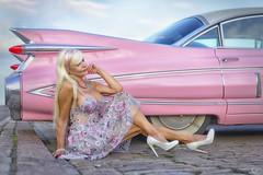 Cadillac Eldorado Seville 1959 (DZ-fotografia - 10 Million views, Thx) Tags: car cadillac eldorado biarritz 1959 pink sexy lady dress long blonde hair white heels