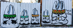 familia or nothing (pbo31) Tags: bayarea california nikon d810 color august 2018 summer boury pbo31 sanfrancisco city urban missiondistrict mural art alley panoramic large stitched panorama fence white skull heads gang wall