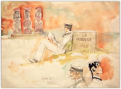 """Corto Maltese, Hugo Pratt, Exposition temporaire au Musée des Confluences """"Hugo Pratt, lignes d'horizons"""", presqu'île Confluence, Lyon, Auvergne-Rhône-Alpes, France (claude lina) Tags: claudelina france ain auvergnerhônealpes lyon ville town city musée museum muséedesconfluences exposition hugopratt cortomaltese dessin aquarelle peinture oeuvre"""