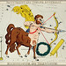 Sidney Hall's (?-1831) astronomical chart illustration of Sagittarius and Corona Australis, Microscopium and Telescopium. The centaur Sagittarius with bow and arrow, telescope and microscope forming the constellation. Original from Library of Congre