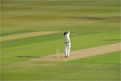 172.2 Playing his own game (Dominic@Caterham) Tags: cricket batsman field ball shadow sunlight