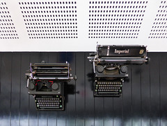 Writing a Text Message (Steve Taylor (Photography)) Tags: text typewriter imperial black white contrast metal wood newzealand nz southisland canterbury christchurch lines holes panelling keys