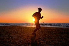 Running at sunset - Tel-Aviv beach (Lior. L) Tags: runningatsunsettelavivbeach running sunset telaviv beach runner run sport telavivbeach israel sea ocean