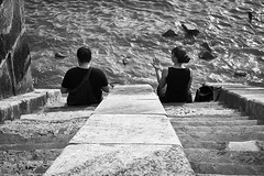 Have a break at the danube (iamunclefester) Tags: budapest monochrome blackandwhite danube couple talking break stairs