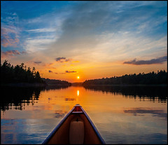 The Path Of The Voyageur (Rodrick Dale) Tags: cloud canoe french river ontario canada sunset reflections water