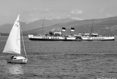 Scotland West Highlands Argyll the paddle steamer Waverley and sail boat 26 July 2018 by Anne MacKay (Anne MacKay images of interest & wonder) Tags: scotland west highlands argyll sea clyde paddle steamer waverley sail boat 26 monochrome blackandwhite landscape july 2018 picture by anne mackay