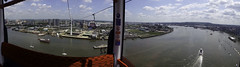 Flying Over The Thames (McTumshie) Tags: 20180613 eastlondon emiratesairline london londonist riverthames tfl boat cablecar dangleway panorama river ship view england unitedkingdom