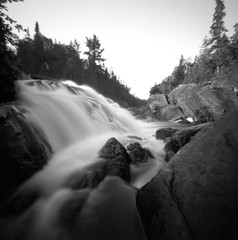 (facenorth) Tags: sandriver mediumformat 120film scan negative selfdeveloped kodakhc110 ilfordpanf50 filmisnotdead ishootfilm ilford pinhole pinholecamera pinholephotography lakesuperiorprovincialpark algoma analogue bw blackandwhite waterfall longexposure lomography lomo