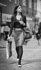 Modern Lady (pickup2sticks 9.63 million views) Tags: woman girl d7000 people derby asian class tights stockings skirt path walking fashion style brunette candid street urban city tamron nikon gjkerr