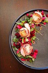 Scallops with maple bacon on beets salad with aragula and pumpkin seeds. (corineouellet) Tags: bacon tasty yummy salad beets aragula scallops canonphoto canoncanada canon foodies foodie food