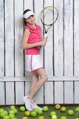 Young female tennis player (MSNBC Documentaries IX) Tags: younggirlplaytennis younggirlisreadytoplaytennis girl young sport tennis active activeness racket racquet court player playing female ball person lifestyle game training healthy pink white attractive fitness grass background fun kids child equipment workout apple skirt shorts tshirt teenage pretty cap uniform