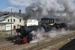 DR 52.8047 + 52.8029 Nossen 07/04/2007 (stefano.trionfini) Tags: train treni bahn zug steam dampf dr br52 bwnossen sassonia germania germany