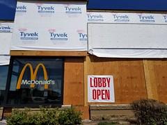 20180723_153725 (Wampa-One) Tags: mcdonalds construction renovation demansardification plywood goldenarches tyvek remodel lobbyopen sign