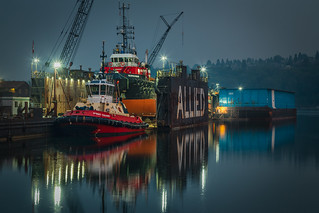 Point Valiant, Seaspan Rogue and Ledcor Barge at Allied Shipyards