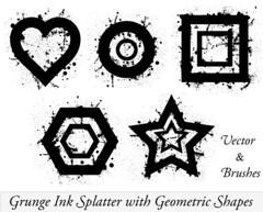 Vector Ink Splatter Illustrator with Geometric Shapes (stockgraphicdesigns) Tags: circle diamond dirty drips drop droplet geometricshapes grunge grungephotoshopbrushes grungy heart hexagon illustration ink inkdrops inkpaintspray inksplatter inkspraybrushes inksprayvector liquid octagon oval paint paintsplatter rectangle splash splat splatter spray square stain stains star texture triangle wet