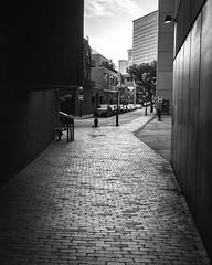 Into the light (iMatthew) Tags: cobblestone penf olympuspenf olympuspen urban shadowandlight light shadow alley monochrome blackandwhite bw bayvillageboston boston bayvillage