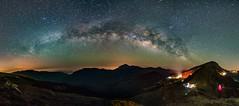 合歡山.石門山~銀河全景~  Panoramic Milky way (Shang-fu Dai) Tags: 台灣 taiwan 南投 nikon d800e sky landscape formosa galaxy 銀河 星空 afs1635mmf4 milkyway 合歡山 3417m 石門山 mthehuan 夜景 車軌 天空