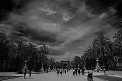 Arc de Triomf, Barcelona (stefano.chiarato) Tags: arcdetriomf barcelona espana bianco bw nero palme cielo cielogrigio sky people gente prospettiva urban paesaggiourbano pentax pentaxk70 pentaxlife