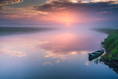 Summer dawn (kamilgalanek) Tags: dawn summer river boat sun sunrise water clouds reflections light