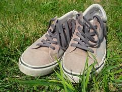 Sneakers in the grass (Yirka51) Tags: suture canvas gum rubber shoelace keck sneakers shoe old meadow grass flora