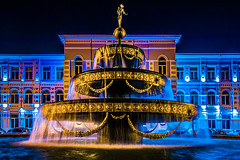 The fountain at night (Melissa Maples) Tags: batumi batum ბათუმი adjara აჭარა georgia gürcistan sakartvelo საქართველო asia 土耳其 nikon d3300 ニコン 尼康 nikkor afs 18200mm f3556g 18200mmf3556g vr spring night evening lights fountain water blue shotarustavelistateuniversity university