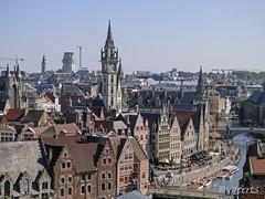 Ghent (BE) (Bvaerrts) Tags: gent ghent gand graslei korenlei post waterfront medieval skyline panorama tower boekentoren tourism church city centrum leie architecture gravensteen