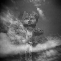 Totem #2 (LowerDarnley) Tags: holga victoria bc britishcolumbia totem clouds window reflection northwest