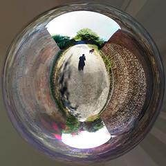 Polar panorama under Grosvenor Bridge, 2018 Jul 08 (Dunnock_D) Tags: sun uk unitedkingdom britain england chester grosvenor bridge texture wall brick bricks brickwork dog shadow stylane polar 360 panorama tree trees lensflare