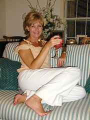 #ALTERNATE August 13, 2003 (WindJammer Photo) Tags: august 2003 olympus 3020 indoor portrait home beauty beautiful gorgeous blonde wife smile anklet alternate tdih