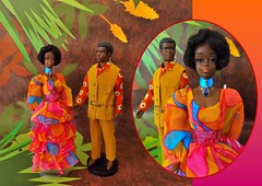 DANCING LIGHTS! (ModBarbieLover) Tags: brad christie doll mod peasant dancing lights mattel fashion barbie psychedelic africanamerican pak 1971 ken suede fringe swirl print pink orange opal bohemian