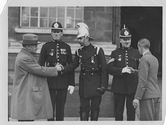 Bravery awards ceremony (Gareth_1939) Tags: messrs bevan company house furnishers queen street st cardiff constable harold burfoot sergeant thomas tom williams superintendent bainbridge gas escape leak police bravery gallantry award awards medal medals evening express 1929 1920s wales welsh old newspaper report article south glamorgan fire brigade
