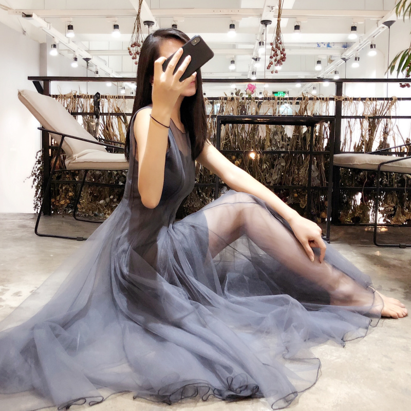 Dress PP home super fairy suspenders lace sukol skirt small fresh mesh 2018 new female cold air