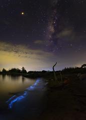 Milky Way and Blue Plankton (tanongsak.s) Tags: milkyway plankton star night space galaxy sea science natural phenomenon thailand asia landscape