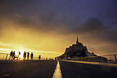 Le Mont-Saint-Michel Silhouettes (parkerbernd) Tags: mont saint michel bretagne normandie france silhouettes bridge perspective sunset fantastic sky clouds rain