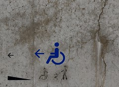 Approach fast to make jump (Grooover) Tags: wall concrete stencil signs exit turner gallery margate grooover