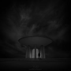 X (*Jin Mikami*) Tags: light silhouette lightning dark architecture monochrome bw bnw black white photoshopped japan pentax square minimalism surreal darkness cloud