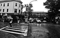 Hot Summer Rain (Robert S. Photography) Tags: people couple umbrellas rainyday scene summer rain brooklyn newyork kingshighway bw monochrome sony dscwx150 iso100 august 2018