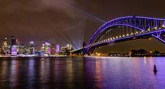 Bridge over Sydneys Waters (Jared Beaney) Tags: canon6d canon australia photography photographer travel bright colour lights sydney vividsydney 2018 sydneyharbourbridge sydneyharbour night rain cloud newsouthwales