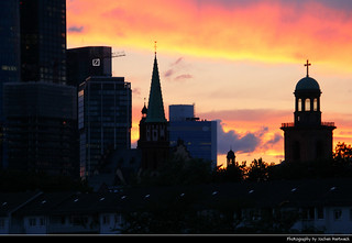 Sunset seen from Alte Brücke, Frankfurt, Germany