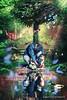 Father and Son (Brigitte Graf) Tags: father son vater und sohn see wald forest sea lake glow squirrel deer rabbit butterflies duck chick reh hase ente küken eichhörnchen blue blau red rot green grün atmosphere stimmung family familie geste surreal color manipulation photo composing art digital photoshop pinterest flickr surrealismo