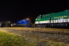 NS Heritage Locomotives Family Photographs 8103 Night 12 (Joseph C. Hinson Photography) Tags: norfolkwesternrailway spencer northcarolina norfolksouthern heritagepaintscheme nsheritagelocomotivesfamilyphotographs ns8103 spencernc roundhouse turntable southernshops spencershops gp30 nw522