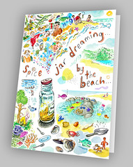 Spice Jar by Beach Note Card (jasoux) Tags: art drawing sketch notecard surreal surrealism watercolor watercolour painting beach spice jar introspection whimsy whimsical artwork