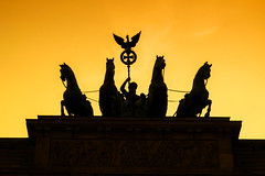 Victory (marionrosengarten) Tags: berlin brandenburgertor quadriga monument victoria horses peace landmark sun orange licht sonne sunlight silhouette shadow memorial denkmal backlight gegenlicht nikon
