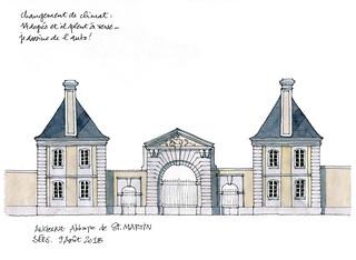 Sées, ancienne abbaye de Saint-Martin, entrée, élévation.